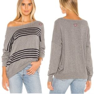 Chaser hearts cashmere blend striped sweater
